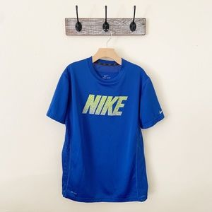 Nike Dri Fit Royal Blue Spell Out Shirt Size XL